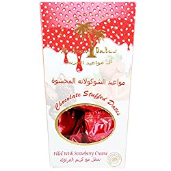 Al Arab Dates Chocolate Stuffed Dates Filled with Strawberry Creame, 140g
