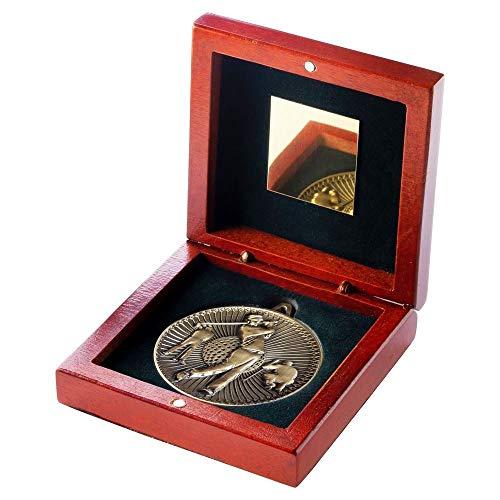 Bronze 4.25 (Lapal Dimension Palisander-Box und 60 mm Medaille Golf-Pokal - Bronze - 4,25 Zoll)