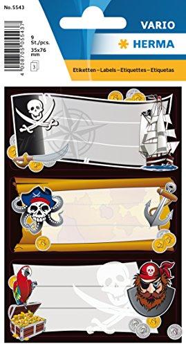 Herma 5543 Namens-Heftetiketten für die Schule, Motiv Piraten, Format 7,6 x 3,5 cm, Inhalt pro Packung: 9 Etiketten