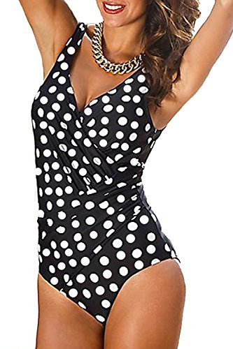 Aidonger Damen Badeanzug mit tief V Ausschnitt Monokini One Piece, M-4XL Polka Dot