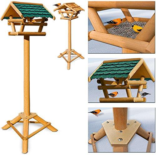 Vogelhaus Vogelhäuschen Futterstation Futterhaus mit Ständer -Bambusdach - 5