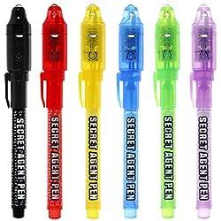 Bolígrafo de tinta invisible, lápiz espía MALEDEN con rotulador mágico de luz UV para mensajes secretos y fiestas