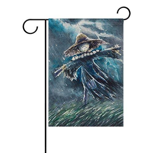 Doppelseitig Süße Vogelscheuche traurig, Regnerische Nacht Polyester HAUS/Garten Flagge Banner 12x 18/71,1x 101,6cm für Hochzeit Party alle Wetter, Polyester, mehrfarbig, 12x18