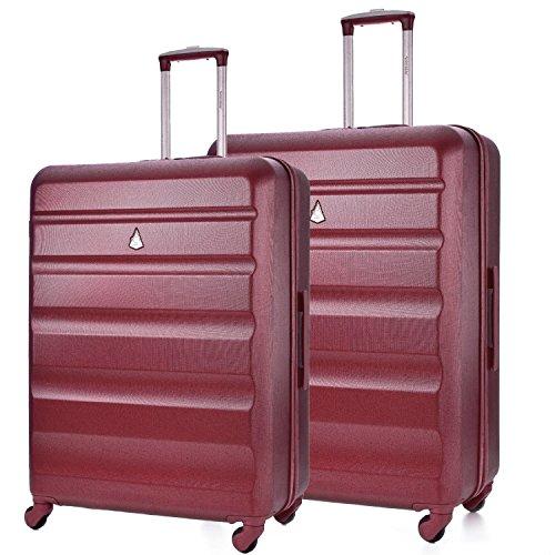 Aerolite Leichtgewicht ABS Hartschale 4 Rollen Trolley Koffer Reisekoffer Hartschalenkoffer Rollkoffer Gepäck, 69cm + 79cm,Wein