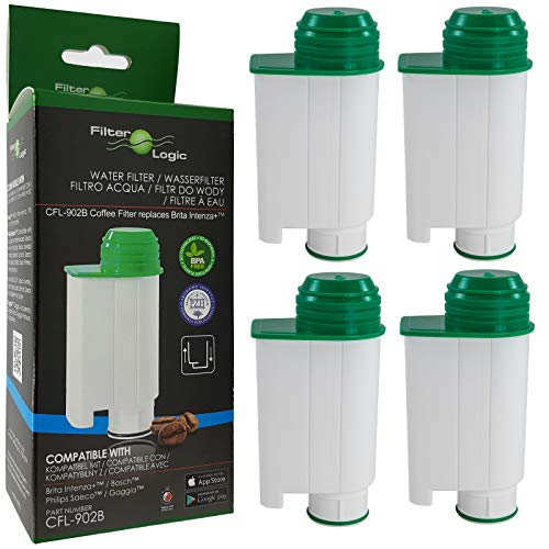 4x FilterLogic CFL-902B Wasserfilter ersetzen Saeco Nr. CA6702/00 - Brita Intenza+ Wasserfilterkartusche für Saeco / Philips / Gaggia Kaffeemaschine - Kaffeevollautomat