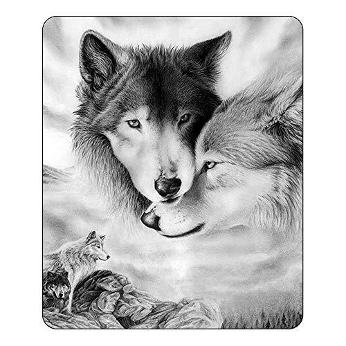 HXZDP 150 * 200cm Paar Wolf Koralle Fleece Decke Warmes Bett Abdeckung Decke Tier Gedruckt Werfen Decke Für Erwachsene Home Beds Dekor