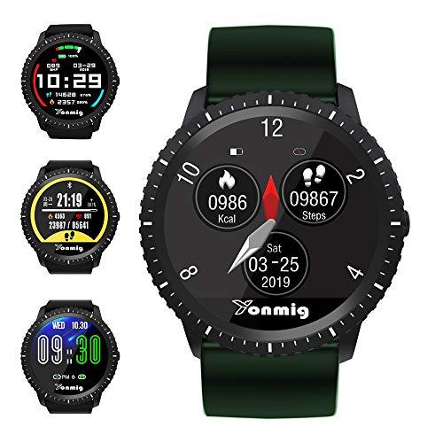 Smartwatch, YONMIG Fitness Armband mit Pulsmesser IP68 Wasserdicht Smart Watch, 1.22 Zoll Farbbildschirm Fitness Tracker Aktivitäts Schrittzähler Uhr Schlafmonitor Damen Herren für Android iOS