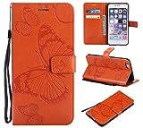 Eazyhurry iPhone 6Plus Coque, iPhone 6s Plus Coque [Protection écran Inclus] Cuir Portefeuille Flip Coque Compatible iPhone 6/6s Plus (Orange)