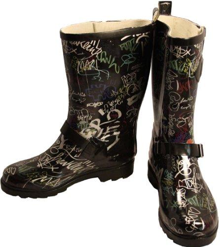 Graffiti black 515 - Botas de caucho para mujer, color negro, talla 38 Beck