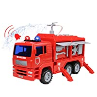 Nuheby Fire Engine Toy Fire Truck for Kids Car Emergency Rescue Vehicle with Water Pump and Truck Accessories Gift for Kids Boys Girls 3 4 5 Years Old