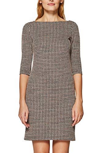 ESPRIT Damen 128EE1E007 Kleid, Mehrfarbig (Black 001), Large (Herstellergröße:L)