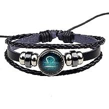 HooAMI Bracelet Cuir Véritable Unisexe DIY Série de 12 Signes du Zodiaque Charme Bijoux pour Homme ou Femme 23cm