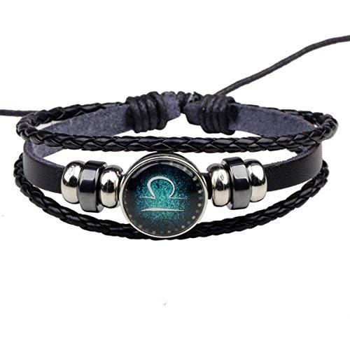 HooAMI Bracelet Cuir Véritable Unisexe DIY Série de 12 Signes du Zodiaque Charme Bijoux pour Homme ou Femme 34cm