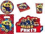 Enter-Deal-Berlin 8 Kinder Set mit 52 Teilen - Fireman SAM - ( Teller, Becher, Servietten, Einladungskarten, Mitgebseltüten )