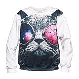 Galaxy Cat Sunglasses Sweater Fullprint Tier Animal Aufdruck Fashion Oversize Langarm Rundhals All Over