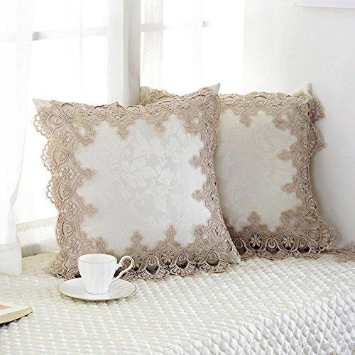 Decorativo encaje plaza tiro cubre almohada fundas de colchón para cama Niños Silla, 18 x 18 pulgadas -A 18x18inch