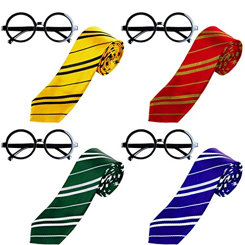 ft Krawatte mit Neuheit Brillenfassung Set für Harry Potter Cosplay oder Party Kostüme Beiwerk (Gemischte 4 Farben) (Harry Potter Kostüm Party)