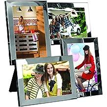 Portarretratos collage de colgar o de posar - Acero cromado - Capacidad 4 fotos