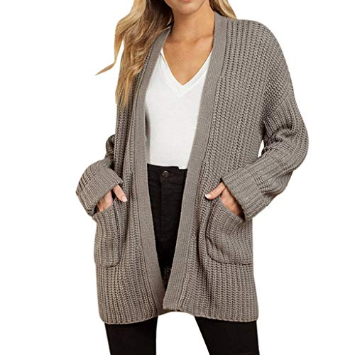 Madmoon Damen Strickjacke Cardigan Casual Langarm Jacke,Grobstrick Strickmantel strickcardigan Damen Herbst Winter Casual Open Front Sweater Cardigan Cover Up Patchwork Outwear -