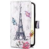 Uposao Handy Hülle für iPhone XS Klapphülle Ledertasche Leder Schutzhülle 3D Bunt Muster Glänzend Flip Case Cover Leder Tasche Lederhülle Lederhülle Handytasche,Schmetterling Turm
