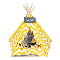 Bonnlo Pet Teepee Dog(Puppy) & Cat Bed - Portable Dog Tents & Pet Houses for Puppy or Cat with Thick Cushion and Blackboard 28in Cat Teepee Tent