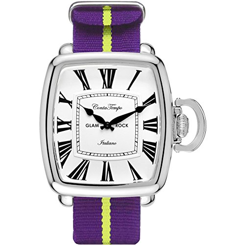 Glam Rock Men's Vintage Two Tone Nylon Band Steel Case Quartz White Dial Analog Watch GR28084F