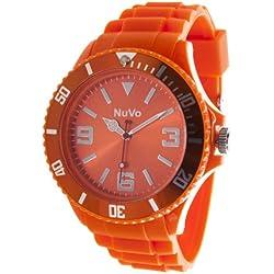 Nuvo - NU13H03 - Unisex Armbanduhr - Quartz - Analog - Orangefarbenes Zifferblatt - Orangefarbenes Armband aus Silikon - Modisch - Elegant - Stylish