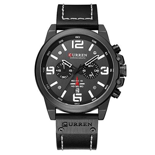 Montre Hommes Résistant à l'eau, Calendrier Complet Quartz Bande PU Calendrier 3Bar Étanche Montre Causal Quartz Montres-Bracelets (Metallic-Black-Black)