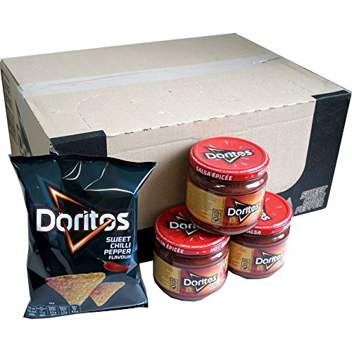 Doritos Nacho Chips Sweet Chilli Pepper 20 x 44g & Doritos Nacho Dip Sauce Hot Salsa 3 x 326g Glas