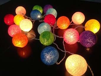 stoffball lichterkette bunt innen kugel lichterketten