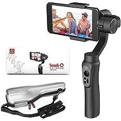 Zhiyun Smooth-Q 3-Axis Handheld Gimbal Estabilizador para Smartphone Al igual que el iPhone, Samsung. Huawei y Gopro Hero 5/4/3 Control inalámbrico (negro)