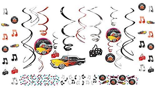 Deko-Set Rock 'n Roll 1950's Partykette Dekogirlande Konfetti Disco Diskoparty Mottoparty Deckenhänger 1950er Jahre ()