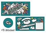 CardWheels 12 SUPERHELDEN Einladungskarten zum Kindergeburtstag + 13 Sticker Gratis - Mädchen Jungen / Party Mitgebsel Geburtstagseinladungen Karten Geburtstag Kinder