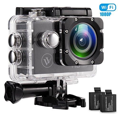 Wasserdichte Kameras (1080p Wifi Action Kamera Wasserdicht Sport Kamera 12mp 2.0 Zoll Full HD Unterwasserkamera mit 2 Verbesserten Batterien und Kostenlose Accessoires für Fahrrad Motorrad Tauchen Schwimmen Usw)