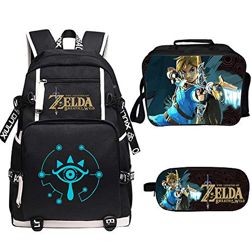 Qushy Legend of Zelda Rucksack Lunchbox Federmäppchen Outdoor Schule Paket, e