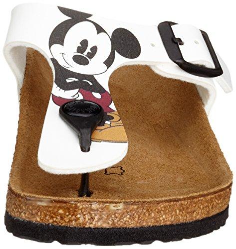 Birkenstock Gizeh Kinder, Tongs fille Blanc - Weiß (Minnie und Mickey)