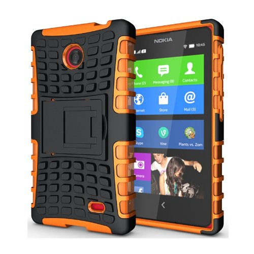 Heartly Flip Kick Stand Hard Dual Armor Hybrid Bumper Back Case Cover For Nokia X X+ Dual Sim Plus Android A110- Orange  available at amazon for Rs.380