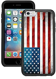 iPhone 6S Case, iPhone 6 Case - Grunge USA American Flag Clear transparent designer hybrid case cover with drop protection - Unique Designer Trendy Case for girls unisex women