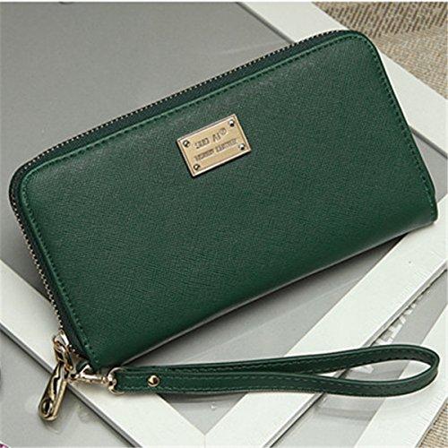mode Liebe ändern brieftasche halten tasche Kreuz streifen damen lange brieftasche Große kapazität Grün