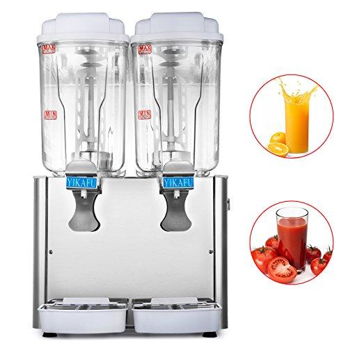 Moracle Dispensador de Bebidas de Zumo 220V 550W Comerciales Bebida Fría y Caliente Dispensador de Bebidas de Hielo de Acero Inoxidable 2x18L (2x18L)