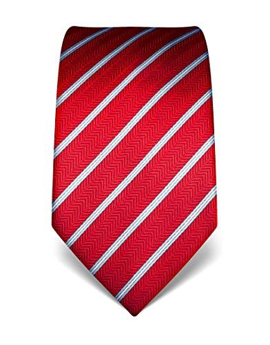 Vincenzo Boretti Herren Krawatte reine Seide gestreift edel Männer-Design gebunden zum Hemd mit Anzug für Business Hochzeit 8 cm schmal/breit rot