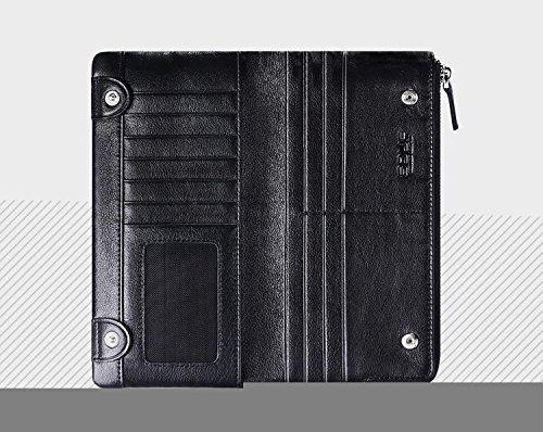 ZXDOP Geldbörsen Herren Multifunktionale Rindslederbörse Herren Large-Kapazität Lange echtes Lederband Geldbörse Reißverschluss ( farbe : Braun ) Schwarz