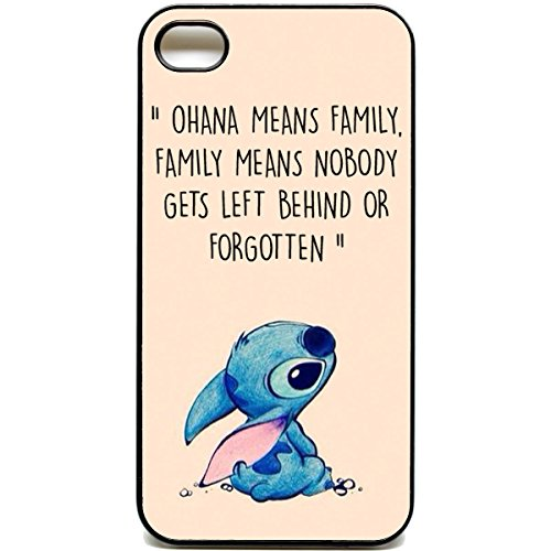 iPhone 4 / 4s Phone case Ohana means family Lilo stich quote