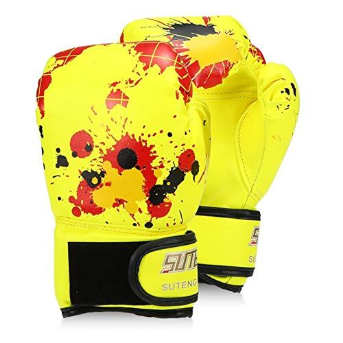 ERHUAN Jungen/Mädchen Boxhandschuhe Leder Boxtraining Schutzhandschuhe Für Kinder Kampf Boxhandschuhe Sicherheitsausrüstungen,Gelb,