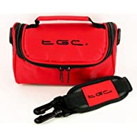TGC ® Camera Case for Sony CyberShot DSC-H9 with shoulder strap and Carry Handle (Crimson Red)