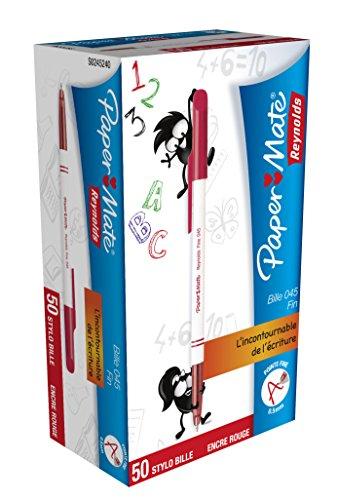papermate-045-bille-carbure-stylo-pointe-fine-rouge-lot-de-50