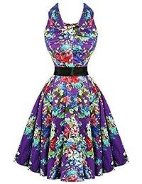 Hearts & Roses London Lila Blumen Retro Vintage 1950s Ausgestellt Party Nachmittagskleid Hervorragende Qualität
