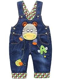Baby Jungen Mädchen Denim Latzhose Kleinkind Hosenträger Jeans Overall Nilpferd