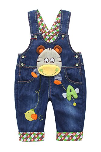 DEBAIJIA Baby Jungen Mädchen Denim Latzhose Kleinkind Hosenträger Jeans Overall Nilpferd Herstellergr.100 - Deutsche Gr.98/104 (Kleinkinder Mädchen Jeans)