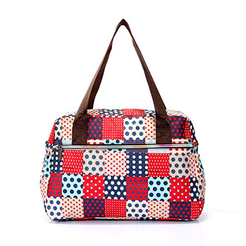 Donna leggero floreale Flower Cross Body borsetta con tracolla rimovibile, impermeabile, festa della mamma, regalo Multicolore (Blue & Red Polka dots)